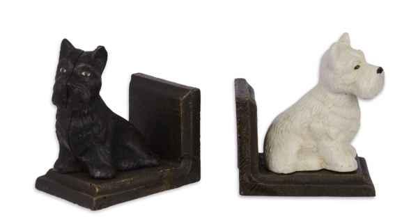 2 Buchstützen Buchständer Scottish Terrier Figur Skulptur Eisen 12cm Antik-Stil
