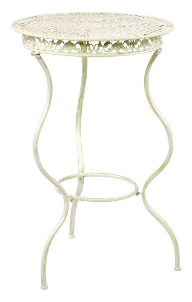 Gartenmöbel Eisenmöbel Stehtisch Bistrotisch antik Stil Eisen creme weiss 105cm