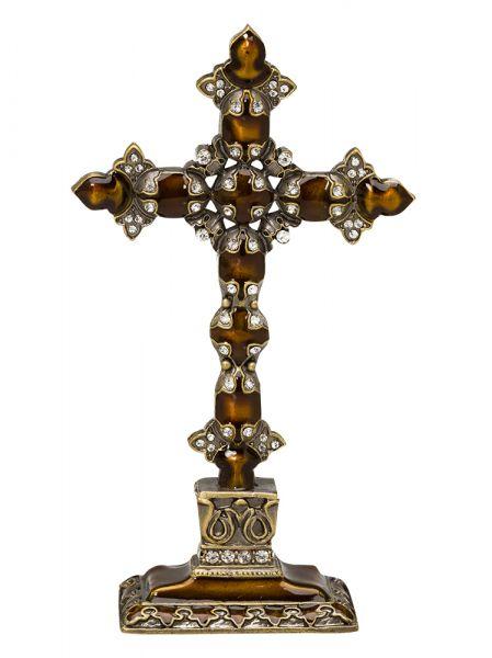 Kreuz Stehkreuz Standkreuz Tischkreuz Kruzifix antik Stil mit Strass Steinen