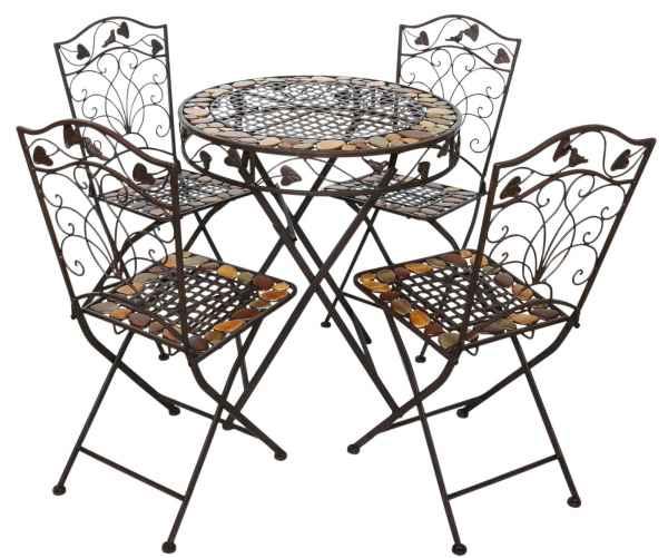 Tavoli Da Giardino In Ferro E Pietra.Tavolo Da Giardino E 4 Sedie In Ferro Battuto In Ferro In Stile