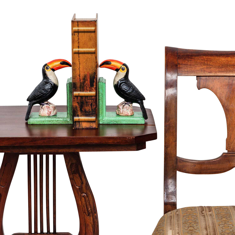 2 Buchstützen Buchständer Tukan Vogel Figur Skulptur Eisen 16cm Antik-Stil