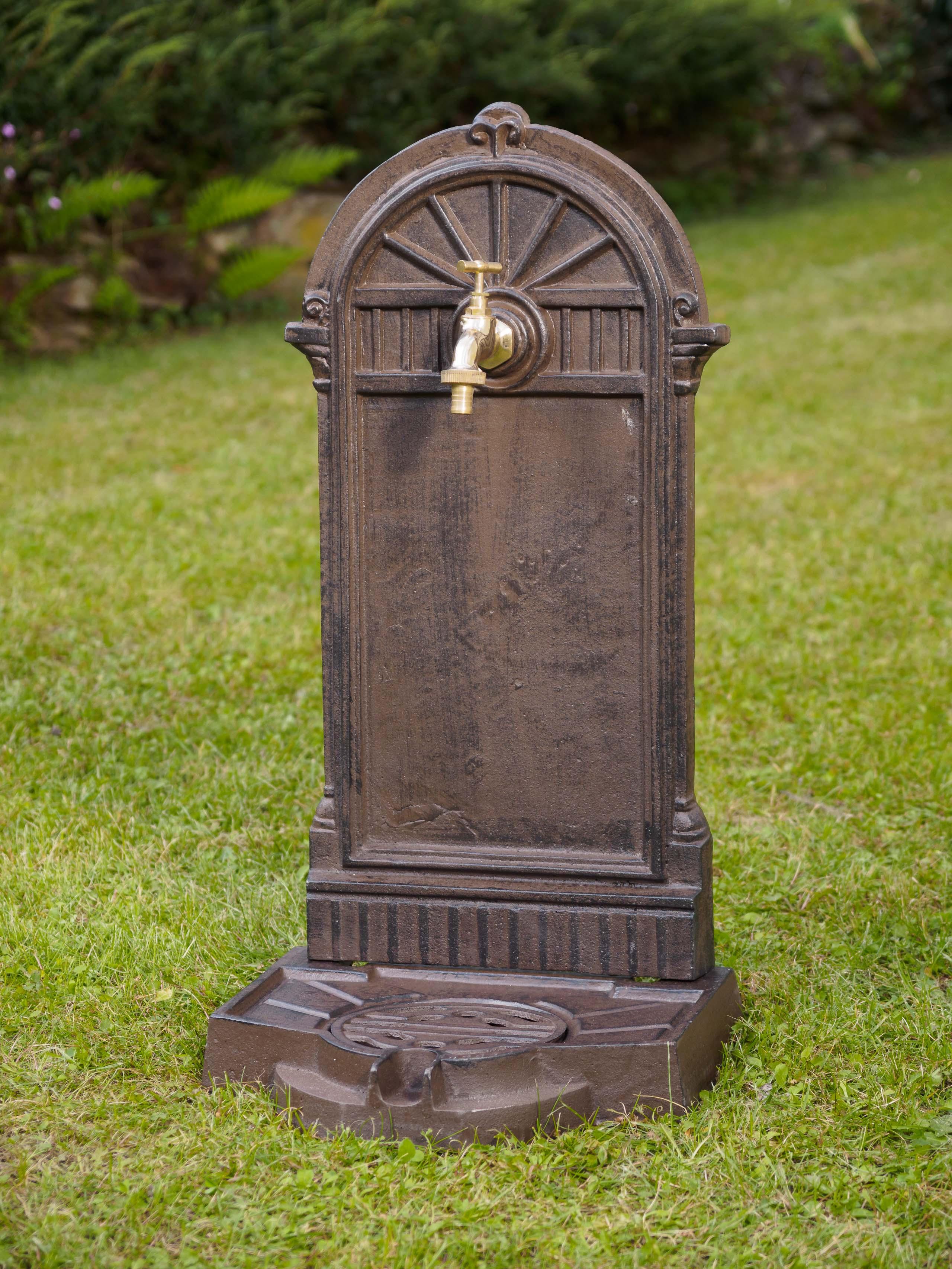 Standbrunnen 64cm 11kg Waschbecken Brunnen Eisen Braun Wandbrunnen