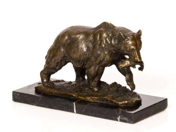 Bronze Grizzly Bär Fisch Bronzeskulptur Bronzefigur Skulptur Antikstil sculpture