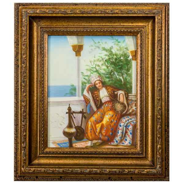 Original Gemälde Frau Fächer Ölgemälde mit Rahmen Ölbild Antik-Stil 38cm