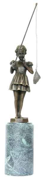 Bronzeskulptur Angeln Mädchen im Antik-Stil Bronze Figur Statue 30cm