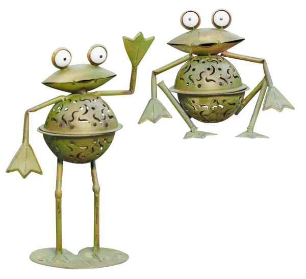 2x Windlicht Frosch Teelichthalter Frösche Garten garden tealight holder frog