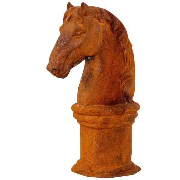 Pferdekopf Sockel Skulptur Eisen Figur Pferd Garten Schachfigur Horse iron rost