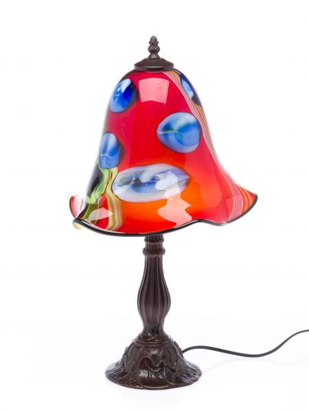 Tischlampe Lampe Glas Glasschirm im Murano Stil 53 cm glass table lamp rot red