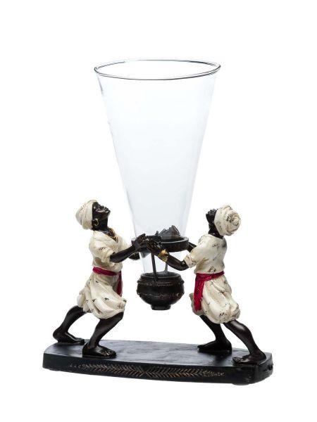 Wunderschöne Vase Glasvase mit Skulptur Mohr im antik Art deco Stil Orient