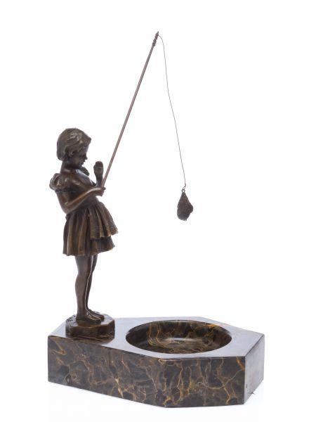 Bronze Skulptur antik Stil nach Ferdinand Preiss Angel Fisch angeln fishing girl