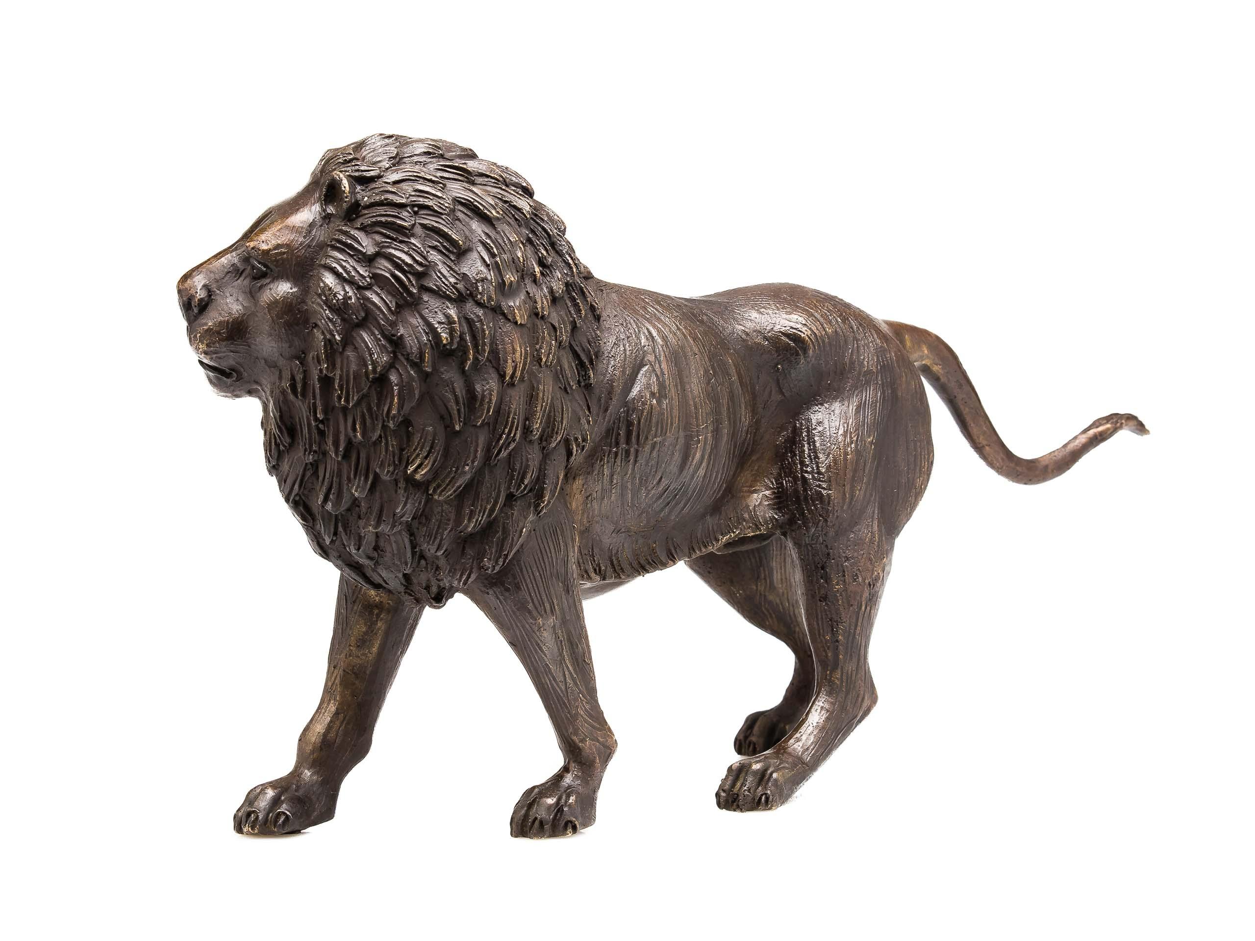 Bronze Skulptur Figur Löwe Lion Bronzeskulptur Bronzefigur Sculpture 31cm