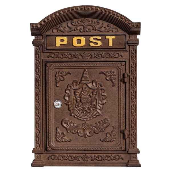 Briefkasten Wandbriefkasten Eisen massiv Nostalgie Postkasten braun Antik-Stil