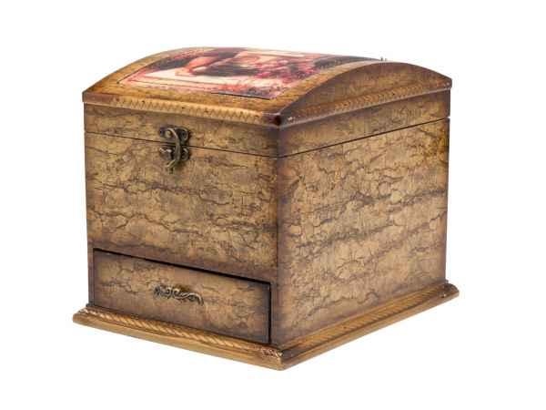 Schmuckschatulle mit Spiegel Schmuckkasten antik Stil Dose Box Holz jewelry box