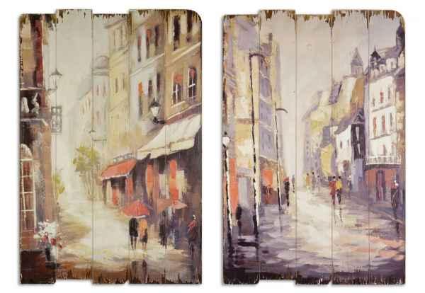 2x Bild Wandtafel Tafel Holzbild Wandbild Personen Häuser Holz Antik-Stil 75cm