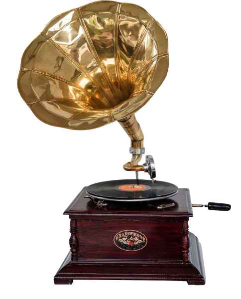 Gramófono Gramophone decoración embudo gramófono de latón Antik-estilo x04