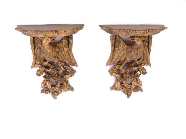 Paar Wandregal Adler Konsole Regal Wandkonsole Wandboard goldfarben antik Stil