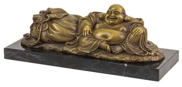 Bronzen beeld Hotei lachende Boeddha in antieke stijl Bronzen beeld 27cm