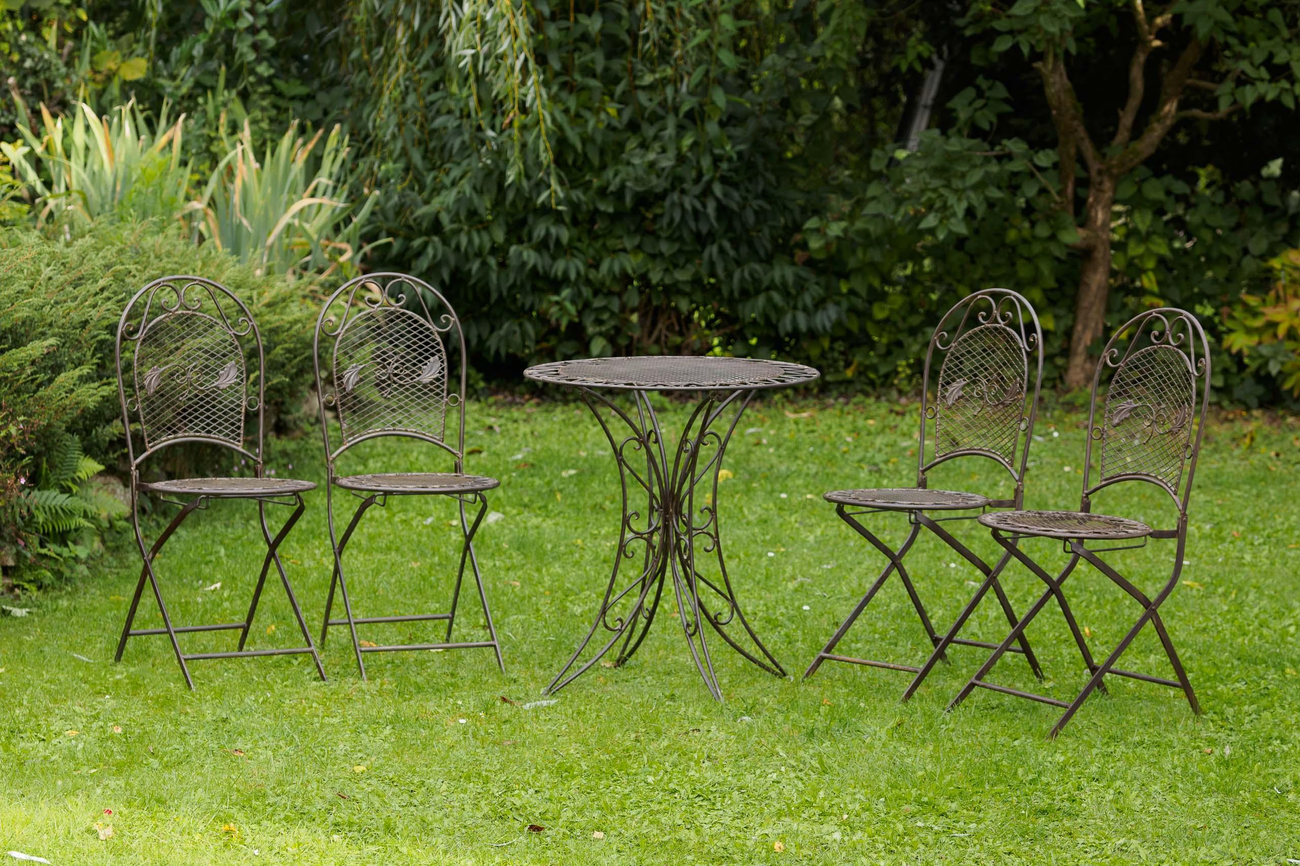 Set Giardino In Ferro Battuto.Set Tavolo Da Giardino 4 Sedie In Ferro Battuto Mobili Da Giardino