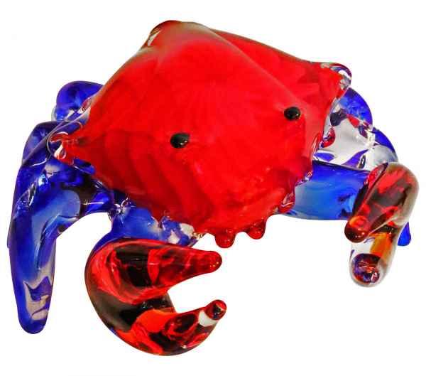 Glasfigur Figur Skulptur Krabbe Glas Glasskulptur Krebs Murano Antik-Stil - 17cm