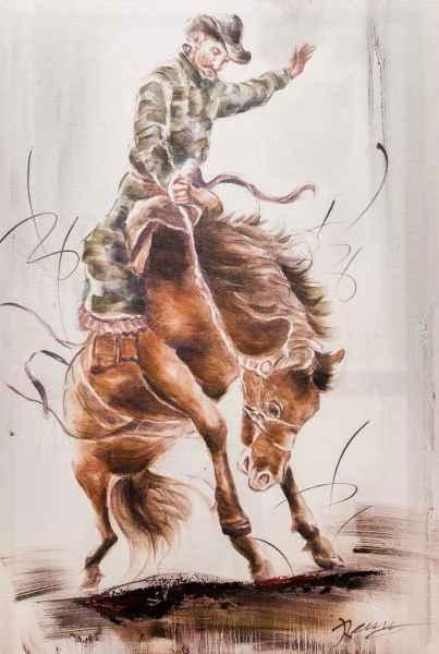 Ölbild Rodeo Cowboy Pferd Reiter Keilrahmen Bild modern 90x60cm Gemälde Stil