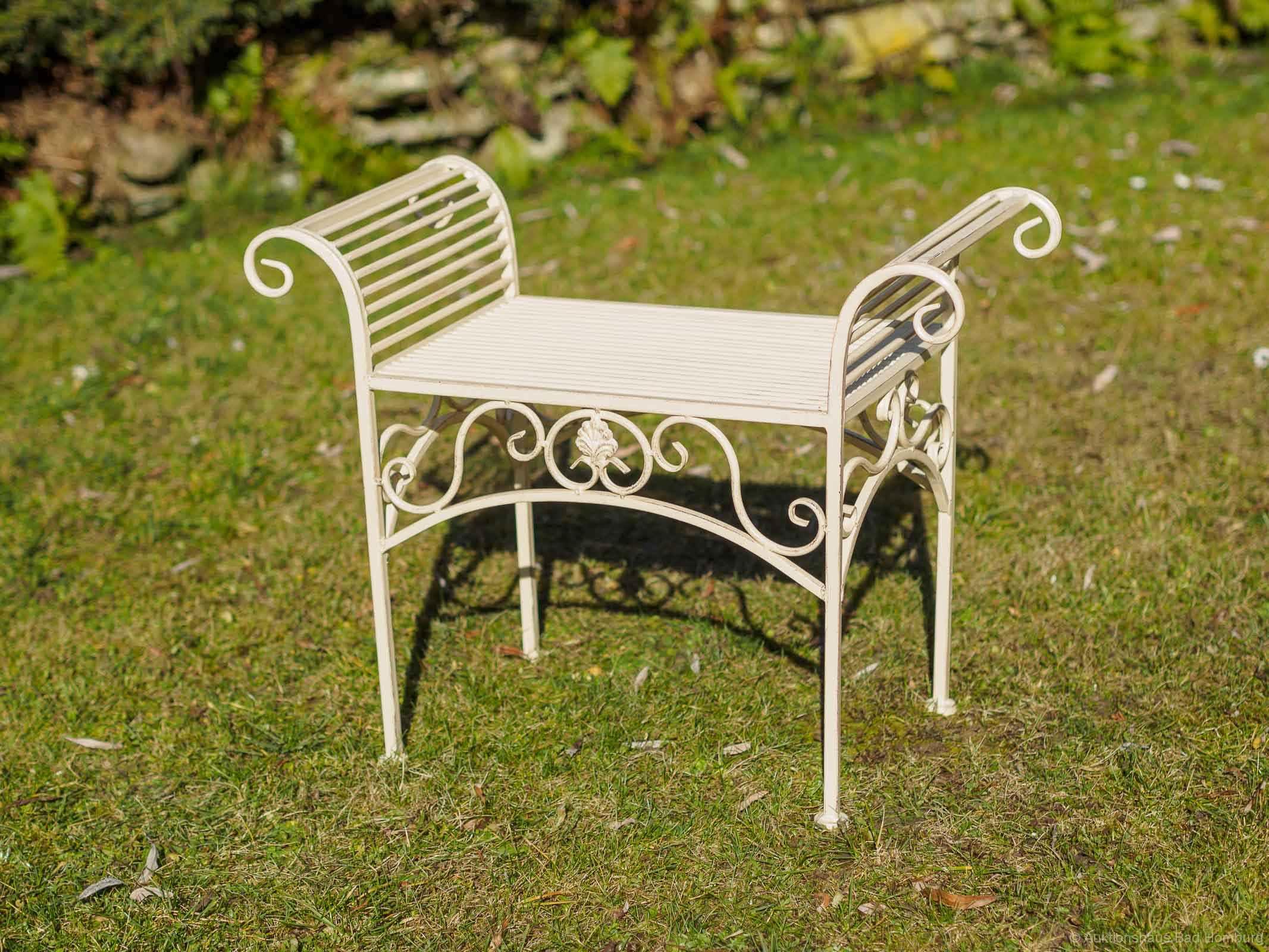 gartenbank eisen metall antik stil garten bank gartenm bel creme weiss 70cm aubaho. Black Bedroom Furniture Sets. Home Design Ideas