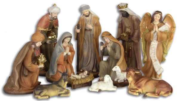 Set 11-teilig Krippenfiguren Krippe Weihnachten Weihnachtskrippe handbemalt