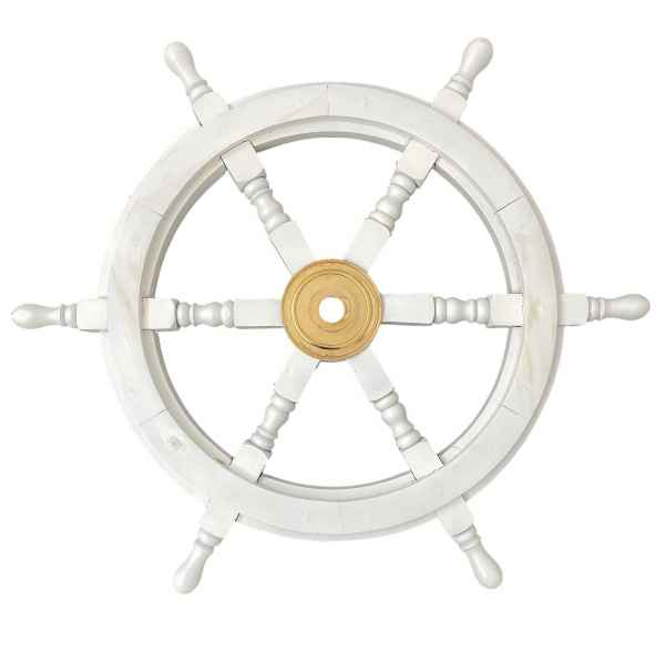 Maritime decorative ship´s wheel - vintage style - wood & brass - 62cm