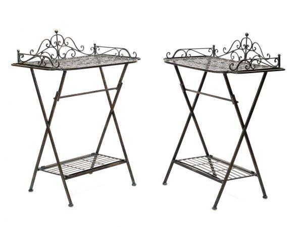 Gartentisch Eisen.2x Butlers Tray Trolley Garden Side Table Iron