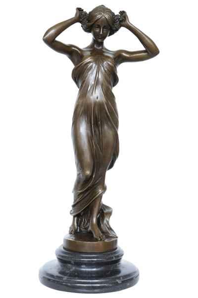 Bronzeskulptur Nymphe Frau im Antik-Stil Bronze Figur 34cm