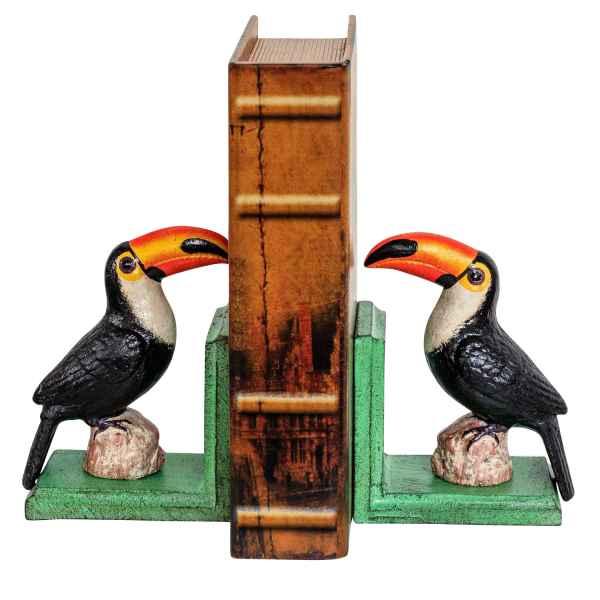 2 Reggilibro uccello tucano ferro figura scultura en stile antico 16cm