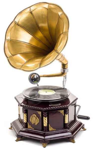 Grammophon 70cm Trichtergrammophon Schellackplatte Grammofon antik Stil verziert