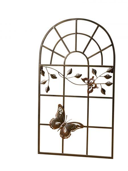 Nostalgie Stallfenster Fenster Metall Rahmen Schmetterling Antik-Stil braun 97cm