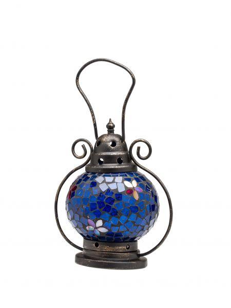 Windlicht Laterne Lampe Teelicht Garten Terasse Haus Glas Buntglas blau 20cm