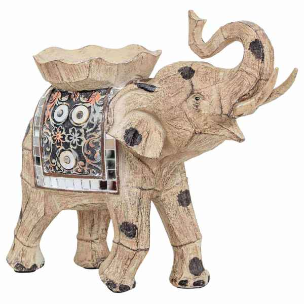 Kerzenleuchter Elefant Figur Kerzenständer Skulptur Dekoration Antik-Stil - 20cm