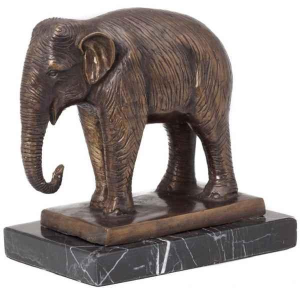 Bronzeskulptur Elefant Afrika Figur Skulptur Bronzefigur 23cm antik Stil