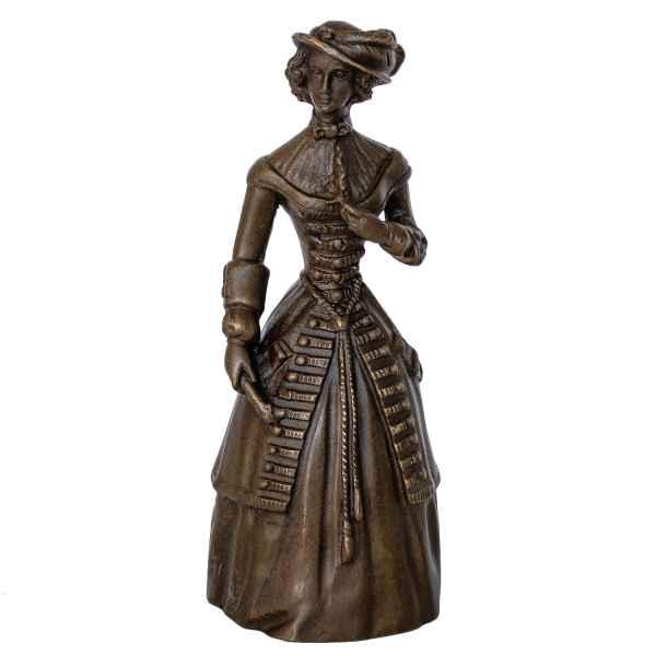 Bronzeskulptur Tischglocke Glocke Frau im Antik-Stil Bronze Figur Statuen 14cm