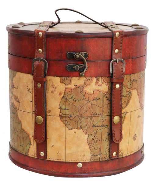 Hutkoffer 36cm Hutschachtel Hutbox Holz Antik-Stil Hut Box Schachtel Koffer Deko