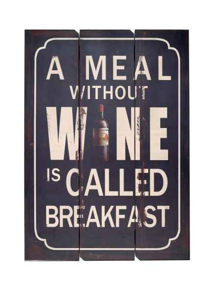 Décoration murale en bois style antique a meal without wine is called breakfast