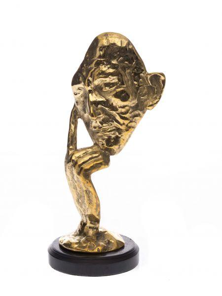 Bronzeskulptur Figur Maske Denker Mann 32cm Büste Gesicht thinker sculpture