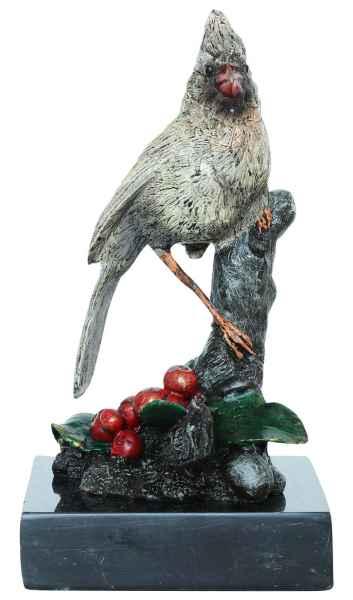Bronzeskulptur Kardinal Vogel Rotkardinal Bronze Figur Statue Antik-Stil 14cm
