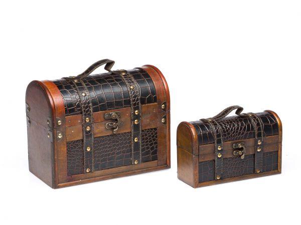 2x Koffer Holzkoffer Holz Antikstil Truhen Nostalgischer Koffer Schatzkiste