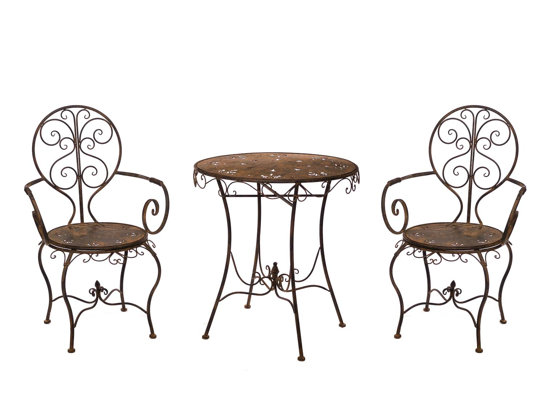 Ensemble de jardin en fer métal Mobilier brun de style antique | Aubaho