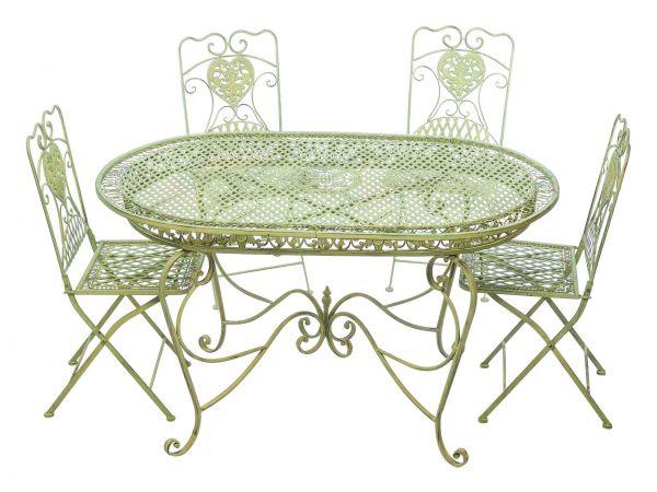 Garnitur Gartentisch 4 Stühle Grün Eisen Gartenmöbel Stuhl Antikstil