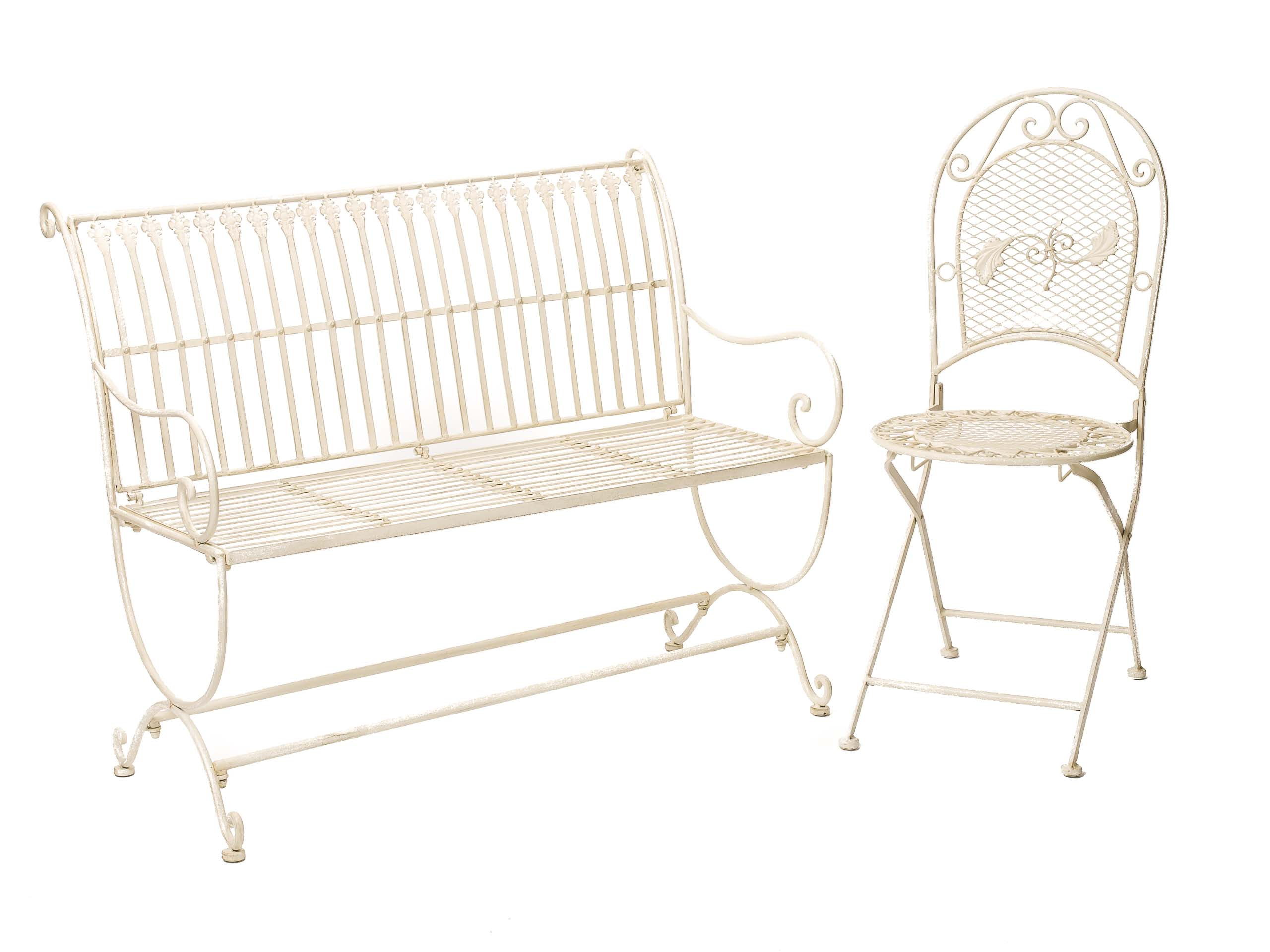 Pleasant Vintage Style Garden Bench Fleur De Lis Design Wrought Iron White Cream Gmtry Best Dining Table And Chair Ideas Images Gmtryco