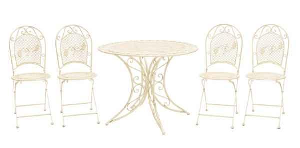 Garten Garnitur Set Tisch + 4 Stühle Eisen Gartenmöbel antik Stil creme weiß