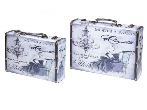 Kofferset Koffer Kiste Holz Schatzkiste Holzkoffer Nostalgie antik Stil Dame