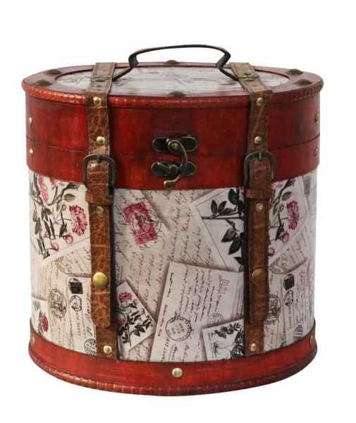 Hutkoffer 28cm Hutschachtel Hutbox Holz Antik-Stil Hut Box Schachtel Koffer Deko