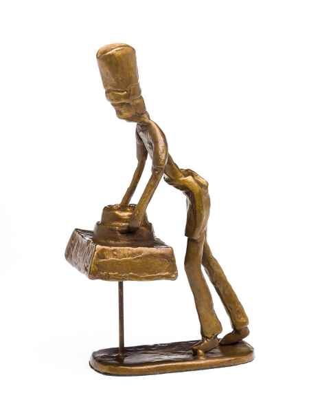 Skulptur Bäcker Koch Restaurant Küche Antik-Stil Bronze Figur Moderne Kunst