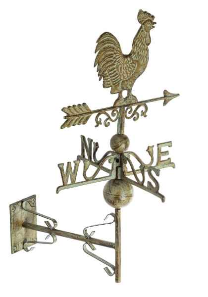 Nostalgie Wand Wetterhahn Hahn Garten Dekoration Windrad Eisen Wetterfahne Grün