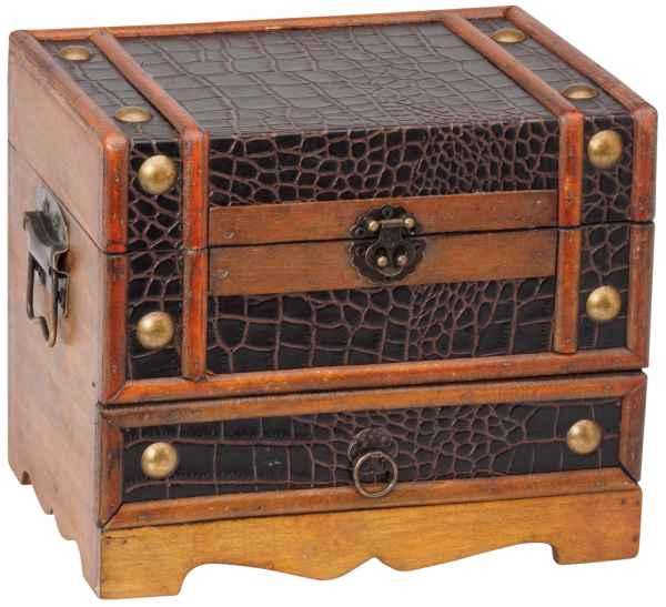 Schmuckkästchen Truhe Holz Schmuckschatulle Schatztruhe 22cm antik Stil